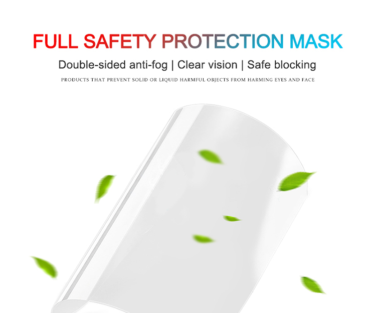 Transparent safety face shield anti-fog for men women